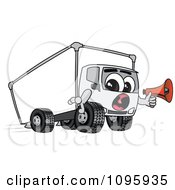 Clipart Delivery Big Rig Truck Mascot Character Holding A Megaphone Royalty Free Vector Illustration
