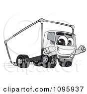 Delivery Big Rig Truck Mascot Character Pointing Outwards