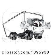 Delivery Big Rig Truck Mascot Character Flexing