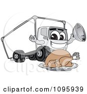 Delivery Big Rig Truck Mascot Character With A Thanksgiving Turkey