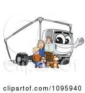Family Standing By A Waving Delivery Big Rig Truck Mascot Character