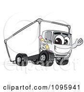 Delivery Big Rig Truck Mascot Character Holding A Pencil