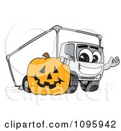 Delivery Big Rig Truck Mascot Character With A Halloween Pumpkin