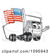 Clipart Delivery Big Rig Truck Mascot Character Holding An American Flag Royalty Free Vector Illustration