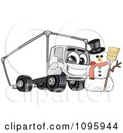Delivery Big Rig Truck Mascot Character With A Snowman