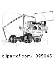 Clipart Delivery Big Rig Truck Mascot Character Holding A Sign Royalty Free Vector Illustration