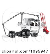 Delivery Big Rig Truck Mascot Character Holding A Dolly