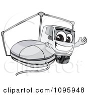 Delivery Big Rig Truck Mascot Character With A Computer Mouse