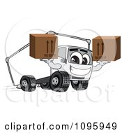 Clipart Delivery Big Rig Truck Mascot Character Holding Boxes Royalty Free Vector Illustration