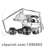 Clipart Delivery Big Rig Truck Mascot Character Holding A Platter Royalty Free Vector Illustration