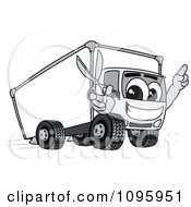 Clipart Delivery Big Rig Truck Mascot Character Holding Scissors Royalty Free Vector Illustration