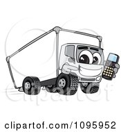 Clipart Delivery Big Rig Truck Mascot Character Holding A Cell Phone Royalty Free Vector Illustration