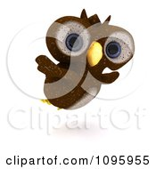 Clipart 3d Brown Owl Flying Royalty Free CGI Illustration