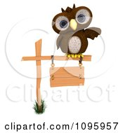 3d Brown Owl Pointing And Perched On A Sign