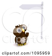 Clipart 3d Brown Owl Looking Up At A Street Sign Royalty Free CGI Illustration by KJ Pargeter
