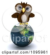 Clipart 3d Brown Owl Perched On An American Earth Royalty Free CGI Illustration by KJ Pargeter