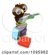 3d Brown Owl Reading On A Stack Of Books