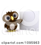 Clipart 3d Brown Owl Presenting A Sign Royalty Free CGI Illustration by KJ Pargeter