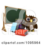 Clipart 3d Brown Owl With Books By A Chalk Board Royalty Free CGI Illustration by KJ Pargeter