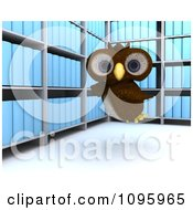 Clipart 3d Brown Owl Flying In An Archive Room Royalty Free CGI Illustration by KJ Pargeter