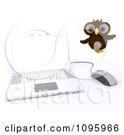 Clipart 3d Brown Owl Flying By A Laptop Royalty Free CGI Illustration by KJ Pargeter
