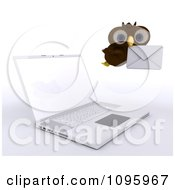 3d Brown Owl Delivering Email By A Laptop