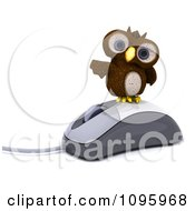 Clipart 3d Brown Owl On A Computer Mouse Royalty Free CGI Illustration by KJ Pargeter