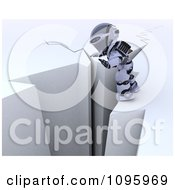 Clipart 3d Robot Balancing On The Edge Of A Cliff Royalty Free CGI Illustration