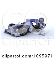 3d Robot Standing By His Formula 1 Race Car