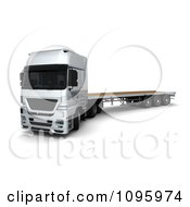 Clipart 3d Silver Lorry Big Rig Logistics Truck With A Flat Bed 1 Royalty Free CGI Illustration