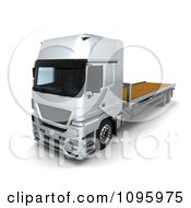 Clipart 3d Silver Lorry Big Rig Logistics Truck With A Flat Bed 2 Royalty Free CGI Illustration