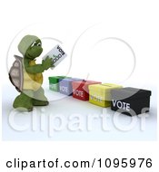 Clipart 3d Tortoise Voting Royalty Free CGI Illustration