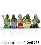 3d Tortoise Politicians With Voting Ballot Boxes