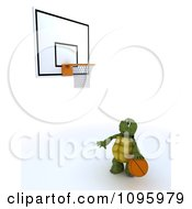 Clipart 3d Tortoise Playing Solo Basketball Royalty Free CGI Illustration