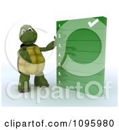Clipart 3d Tortoise Presenting A To Do Check List Royalty Free CGI Illustration