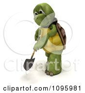 3d Tortoise Digging With A Shovel