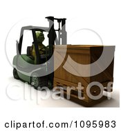 3d Tortoise Moving A Crate On A Forklift