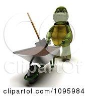 3d Tortoise Gardener Pushing A Wheelbarrow Of Top Soil With A Shovel