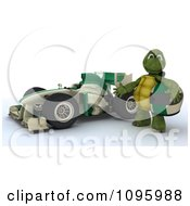 Clipart 3d Tortoise Standing By His Formula 1 Race Car Royalty Free CGI Illustration