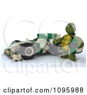 3d Tortoise Standing By His Formula 1 Race Car
