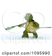 Clipart 3d Tortoises Holding A Green Ethernet Cable Royalty Free CGI Illustration
