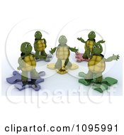 3d Tortoises On Metallic Puzzle Pieces