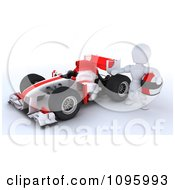 Clipart 3d White Character Standing By His Formula 1 Race Car Royalty Free CGI Illustration