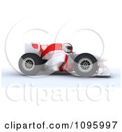 3d White Character Driving A Formula 1 Race Car