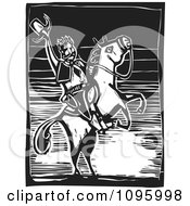 Clipart Friendly Wild West Cowboy Holding Up His Hat On His Rearing Horse Black And White Woodcut Royalty Free Vector Illustration