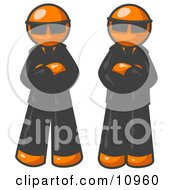 Two Orange Men Standing With Their Arms Crossed Wearing Sunglasses And Black Suits