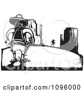 Clipart Wild West Cowboy Sherrif Ready To Duel In The Desert Black And White Woodcut Royalty Free Vector Illustration