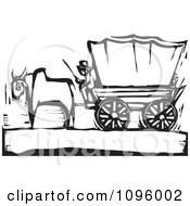 Clipart Pioneer And Ox With A Covered Wagon On The Oregon Trail Black And White Woodcut Royalty Free Vector Illustration