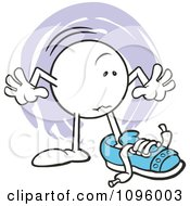 Clipart Moodie Character Trying To Fit Into A Large Shoe If The Shoe Fits Royalty Free Vector Illustration