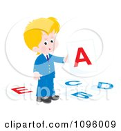 Clipart Blond School Boy Holding Up A Letter A Card Royalty Free Vector Illustration by Alex Bannykh